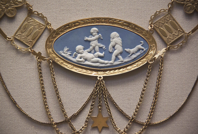 Detail - Festoon necklace with Wedgwood or Meissen  cameo, German, early mid 19th