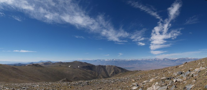 Another panorama shot toward the eastern Sierra from the slopes of White Mountain Peak.