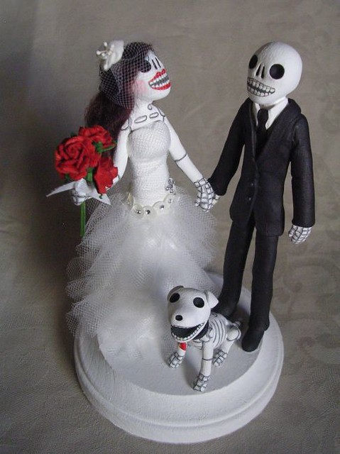 Day of the Dead wedding cake topper with skeleton dog Available on eBay