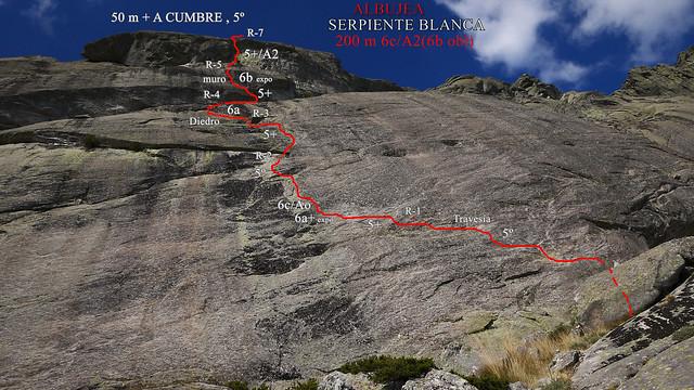 Vía SERPIENTE BLANCA 200 m 6c/A2(6b obl) - ALBUJEA - croquis
