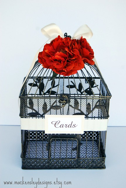 LARGE Bird Cage Wedding Card Holder Orange Ivory