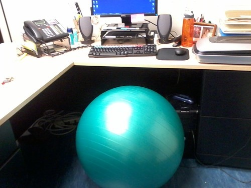 First full day of exercise ball as desk chair = two thumbs up! @devonakmon was on to something.