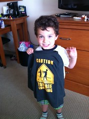 Xavi very proud of his new Zombie shirt. Brains.