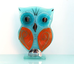 Fused Glass owl Sculpture