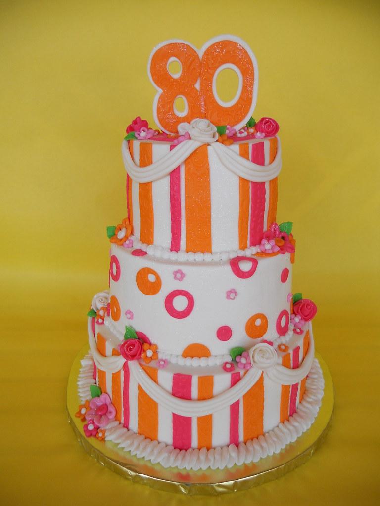Orange And Pink Sherbert 80th Birthday Cake