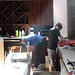Hard at work readying the new bar at Boneta for the arrival of its old top