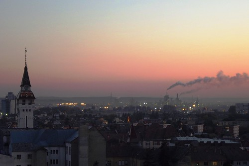 city sunset urban skyline buildings landscape transylvania mures fujifilmfinepixs2950