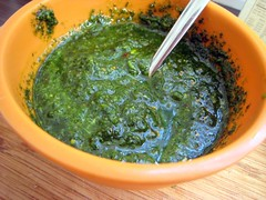 vegetarian food, chimichurri, green sauce, food, dish, cuisine,