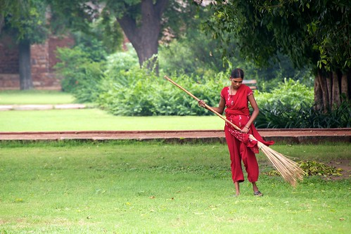 Indian lady sweeping