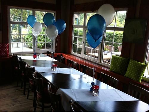 Tafeldecoratie 3ballonnen t Golfie Rockanje Blauw en Wit