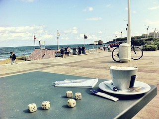 Yahtzee and a coffee by the beach