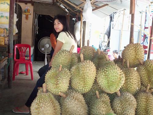 Lady selling Durian in Myanmar