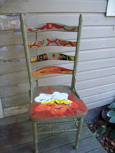 charity wood red food orange white black green art kitchen yellow valparaiso chair acrylic indiana spraypaint gouache foundobject ladderback