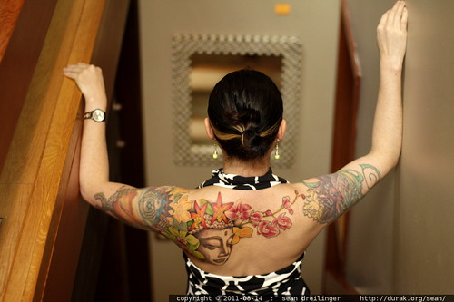 rachel's back, with new buddha tattoo