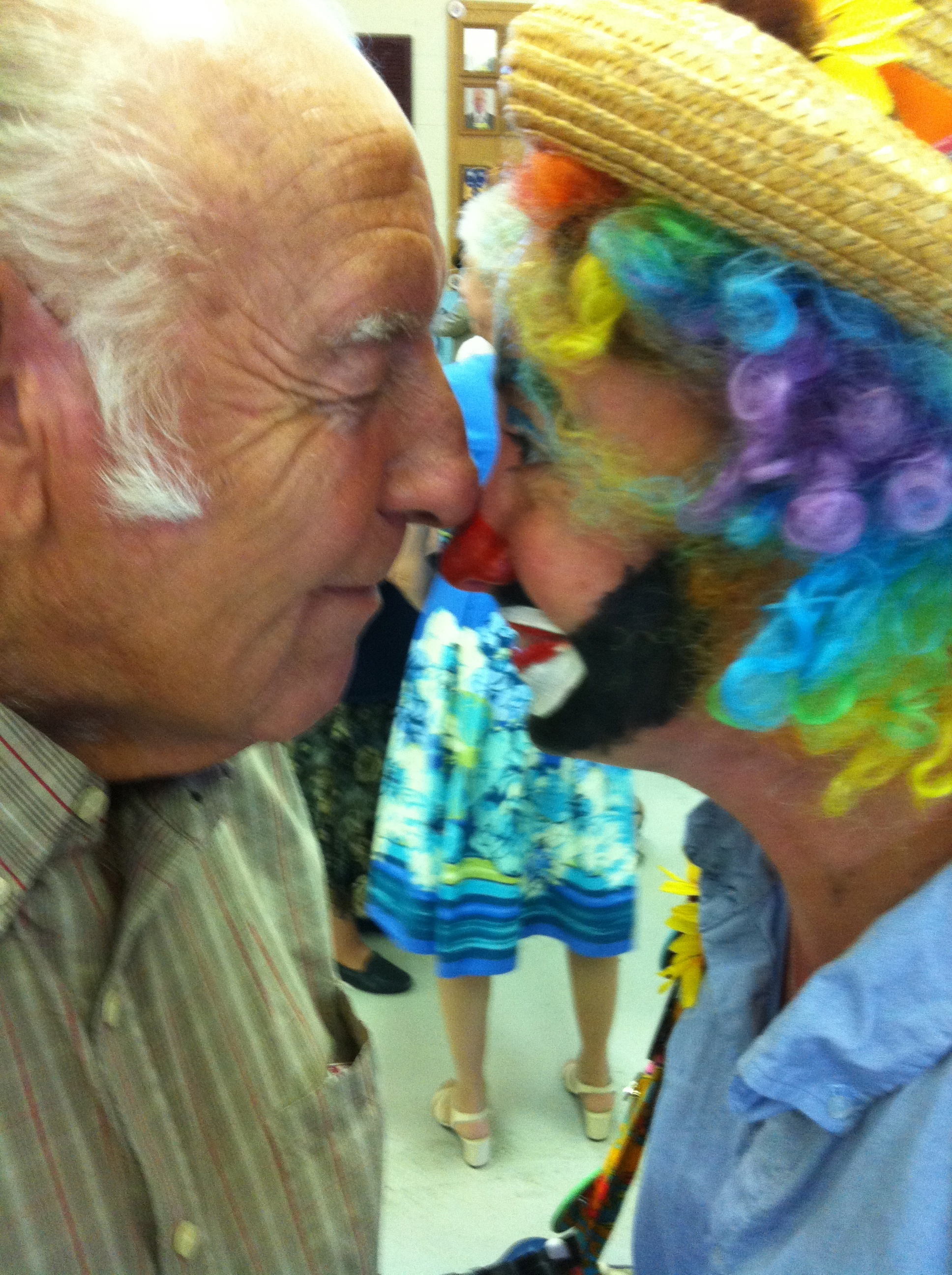 Grandpa Schaadt and Gidget the Clown, his grand daughter