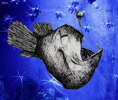 Humpback Anglerfish with a Funky Background by The People In My Head