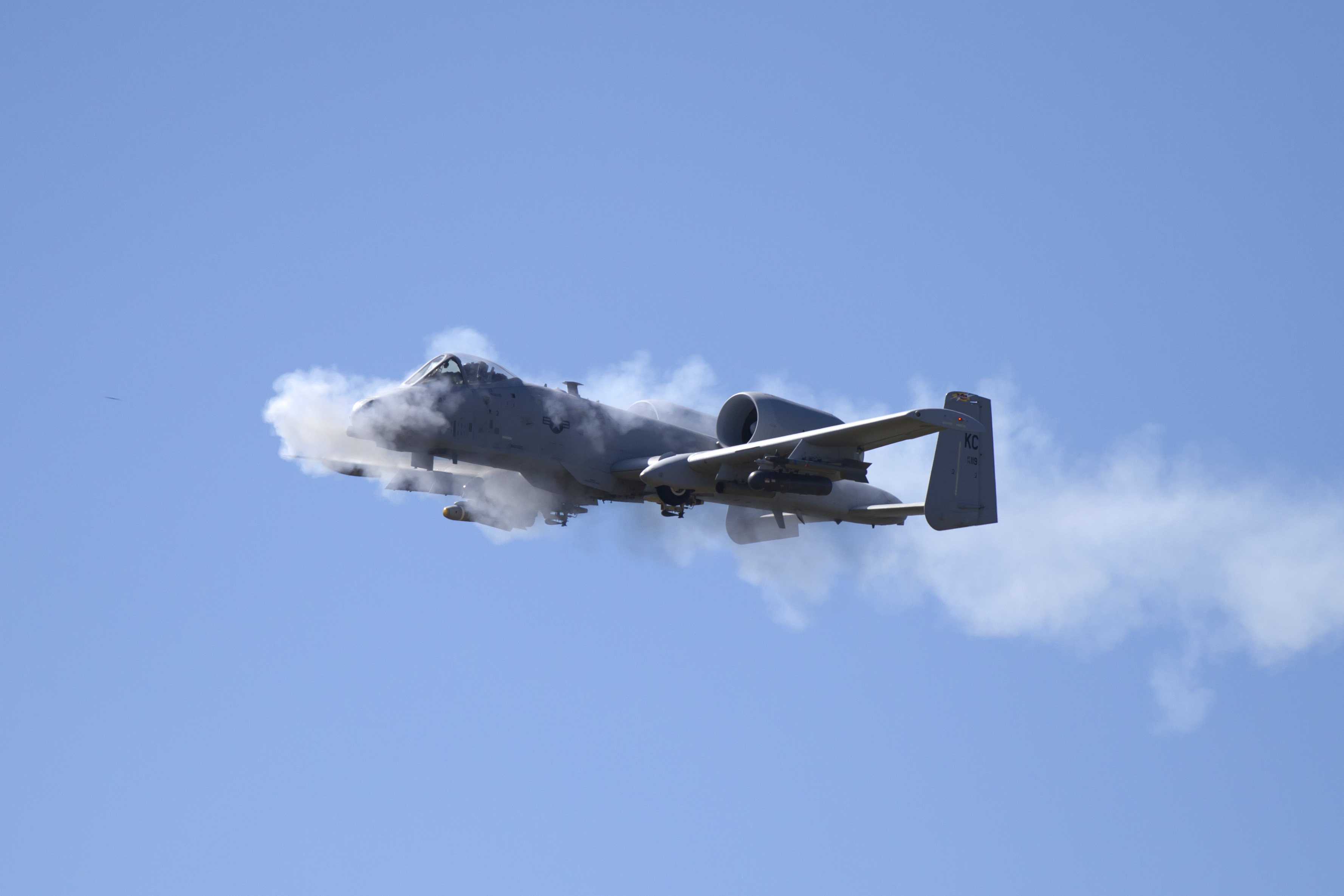 A-10 Firing its GAU-8 30mm cannon. Live fire demo hardwood bombing range WI.