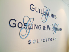 Internal office sign. Cut routed acrylic letters