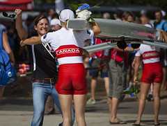 Tracy Cameron runs to congratulate Patricia Obee after  Obee and partner Lindsay Jennerich won the silver medal at the 011 World Rowing Championships.