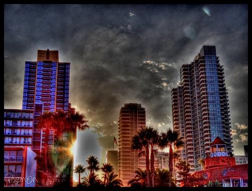 california trees windows sun color beautiful sunrise buildings palms photography us photo colorful unitedstates pacific sandiego sony palmtrees rays westcoast hdr highdynamicrange digitalphotography photomatix sonydschx100v paemon