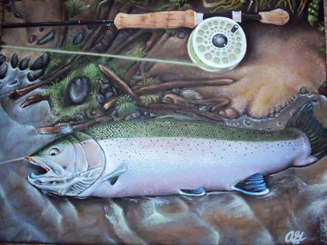 Steelhead Salmon Painting http://www.flickr.com/photos/41650991@N05/6209486914/