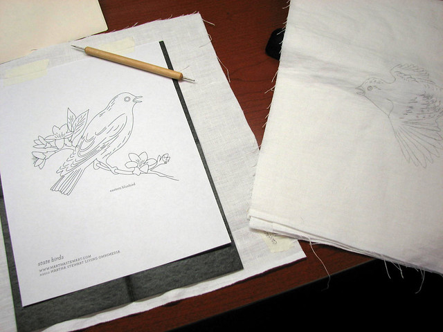Tracing State Birds onto Linen