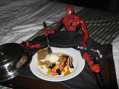 Spider-Man eating apple pie, in bed!