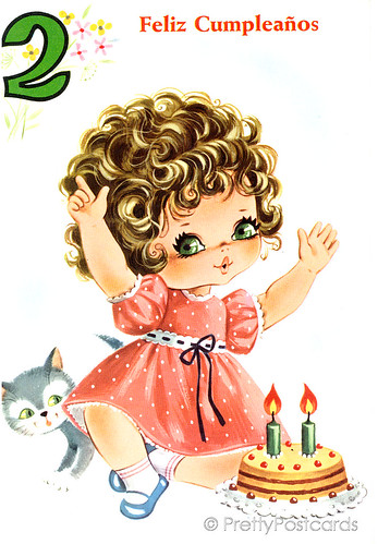 Vintage Birthday card for a Big Eyed Girl, 2 Years old