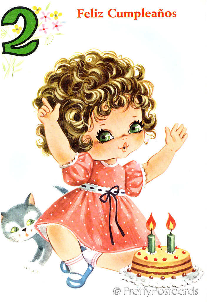 Vintage Birthday Card For A Big Eyed Girl 2 Years Old