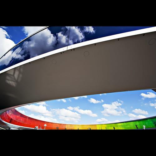 blue red sky panorama orange color colour green glass museum clouds denmark rainbow view aros curve eliasson olafur arhus