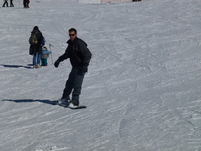 John snowboarding, he was moving at the time!