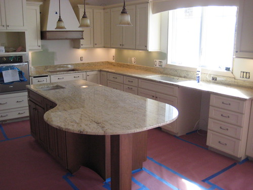 Custom kitchen master bath granite countertops installed for Granite overhang limit