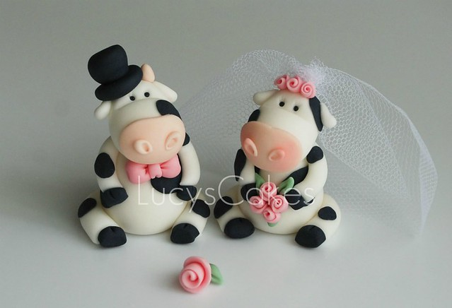 cow wedding cake toppers