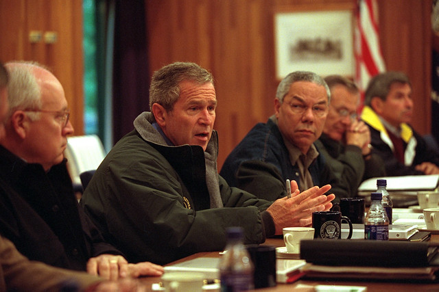 911:  President George W. Bush Meets with National Security Council at Camp David.