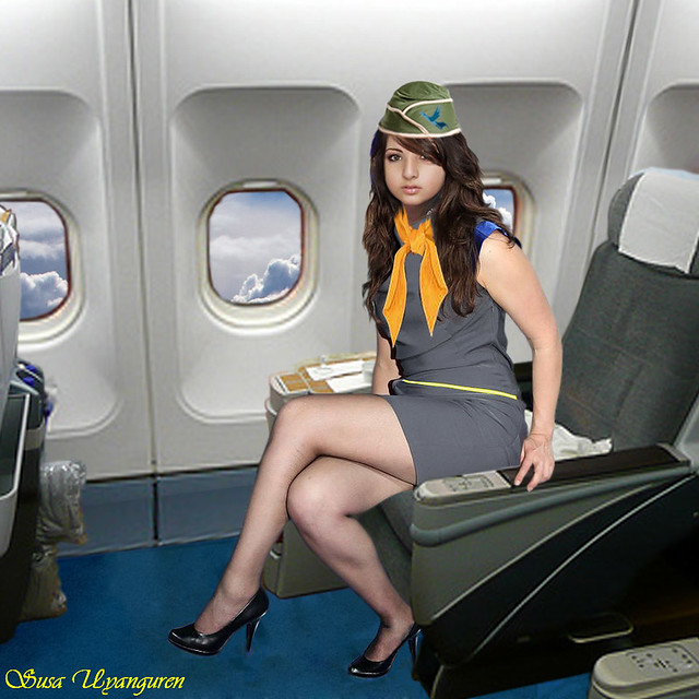 stewardess flashing