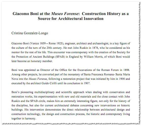 "Prof. Giacomo Boni: The Antiquarium Forense (1900-10): Dr.  Cristina Gonzalez-Longo, Giacomo Boni at the Museo Forense:  Proc. 2nd Int. Cong. Construct. History (2006) / University of Rome ""La Sapienza."" (1995). [PDF pp. 1-22]."