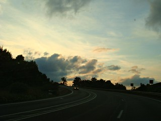 Sunset on the highway