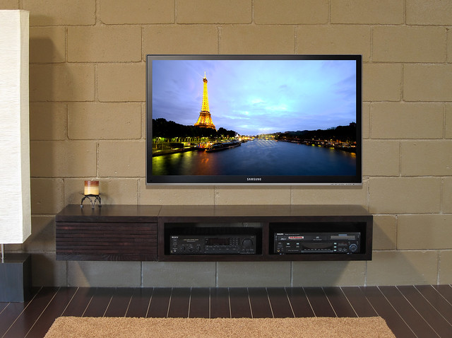 Tv Attached To Wall : Wall Mounted TV Stand - Mayan  Flickr - Photo Sharing!