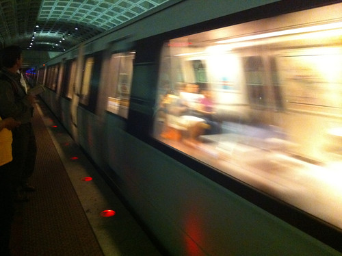 Yellow Line Metro Train Arriving At Pentagon City