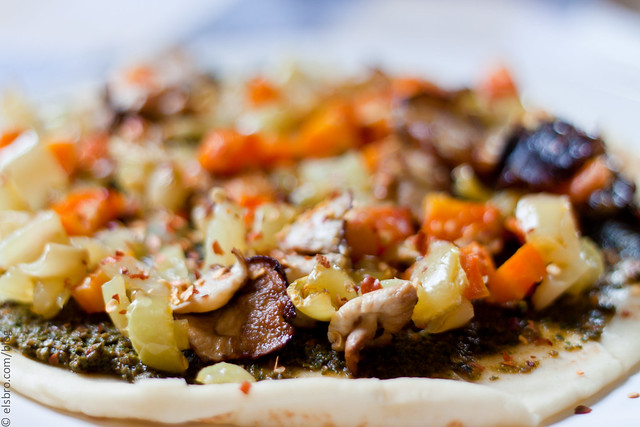 Dinner - Mushroom & Peppers Flatbread