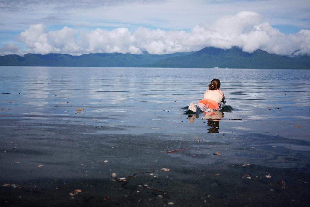 Swimming in Lake Shikotsu, Hokkaido, Japan