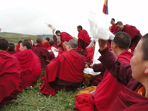Tibetans celebrate Dalai Lama's Birthday in Tawu, Tibet.