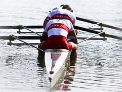 Canadian mens four rowers, Anthony Jacob, Kevin Kowalyk, Will Dean and Derek O'Farrell Rowers sit at the finish line after finishing in 7th place at the 2011 World Rowing Championships in Bled, Slovenia guaranteeing them a spot at the 2012 Olympic games.