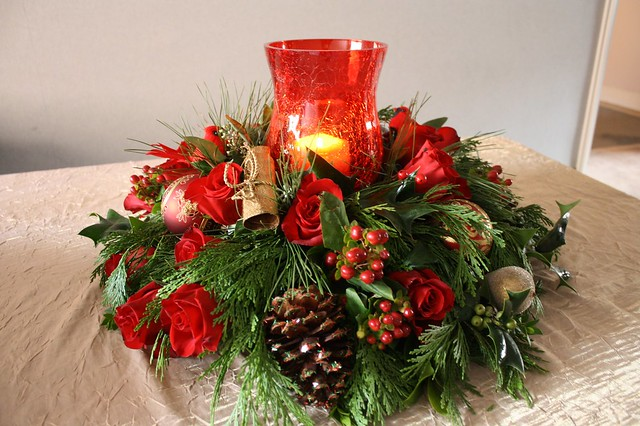 Christmas floral centerpiece with hurricane glass flickr