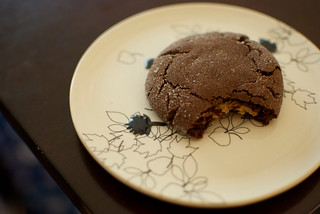 chocolate and peanut butter surprise cookies