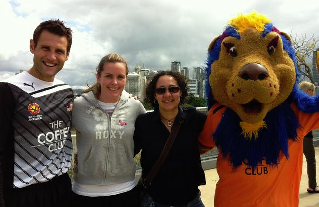 Posing with the keeper & mascot for Brisbane Roar