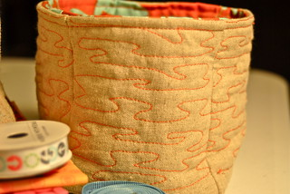 Detail of quilting on linen buckets