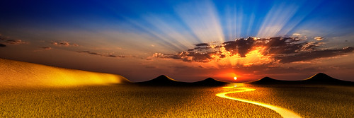 sunset panorama grass silhouette clouds canon river stream hills mongolia sunburst rays reverse plains sunrays rolling steppe density neutral 1635 gnd singhray dalanzadgad 5d2