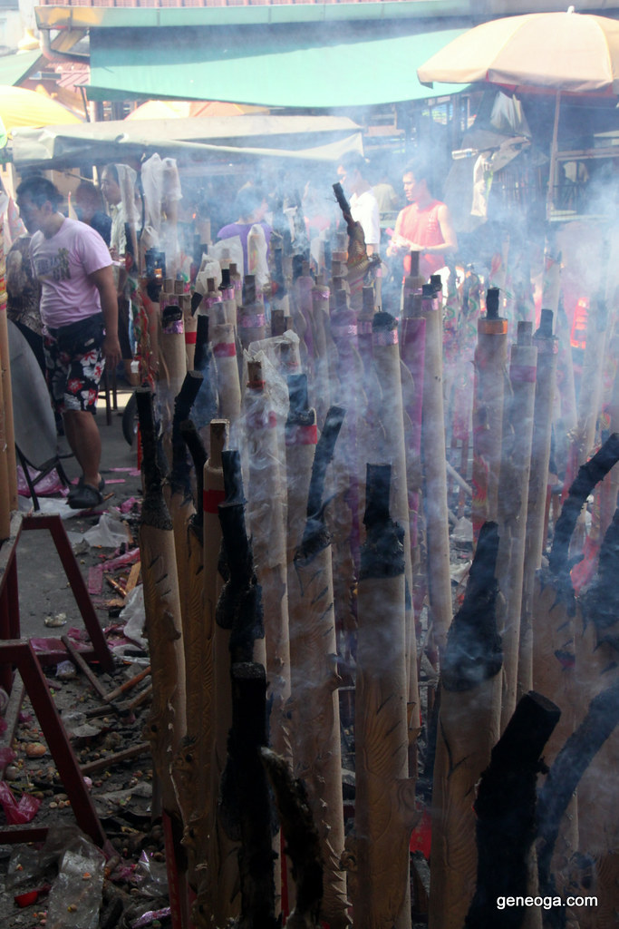 Burning large dragon joss sticks