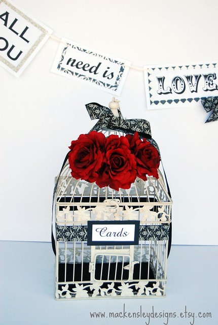 LARGE Bird Cage Wedding Card Holder Red Black Ivory Damask
